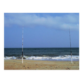 Beach Scene With Fishing Poles Post Card