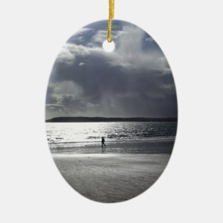 Beach Scene with people Walking Ceramic Ornament