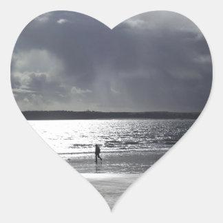 Beach Scene with people Walking Heart Sticker