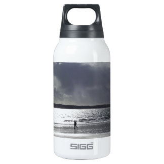 Beach Scene with people Walking Thermos Water Bottle