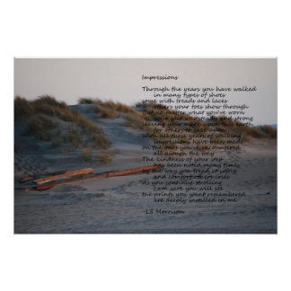 """Beach scene with poem """"Impressions"""" poster"""