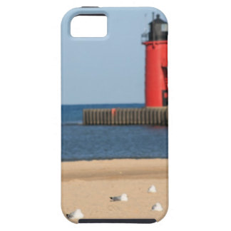 Beach scene with seagulls and lighthouse iPhone 5 cases