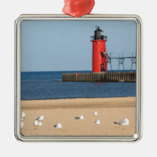 Beach scene with seagulls and lighthouse metal ornament