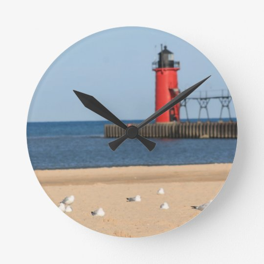 Beach Scene With Seagulls And Lighthouse Round Clock