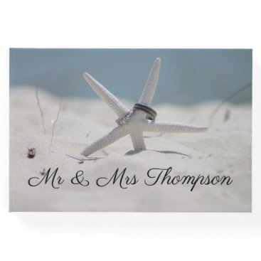 Beach Themed Beach Scene with Starfish Guest Book