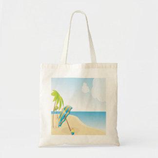 Beach Scene with Umbrella, Palm Trees & Beach Ball Canvas Bags