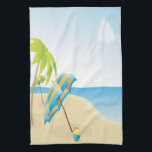 "Beach Scene with Umbrella, Palm Trees &amp; Beach Ball Kitchen Towel<br><div class=""desc"">Ocean,  umbrella&#39;s,  warm sand,  blue skies and a palm tree.  Greetings are perfect for retirement,  birthday&#39;s and anniversary&#39;s too!</div>"
