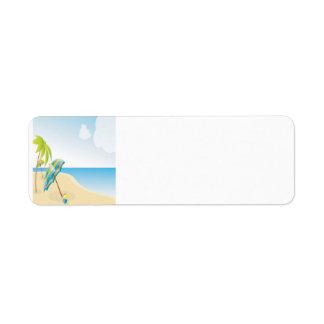 Beach Scene with Umbrella, Palm Trees & Beach Ball Label