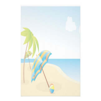 Beach Scene with Umbrella, Palm Trees & Beach Ball Stationery