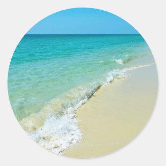 Beach scenery classic round sticker