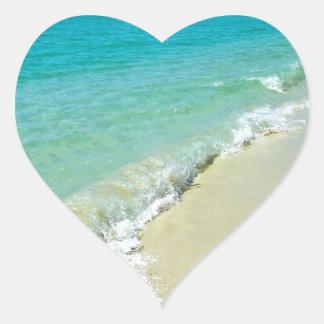 Beach scenery heart sticker