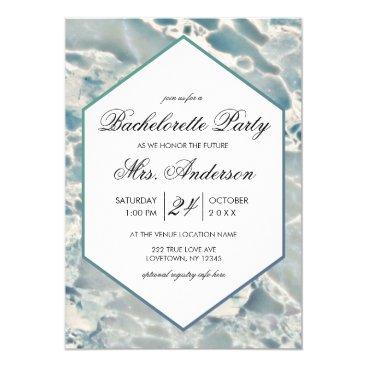 Ocean Themed Beach Sea Glass Aqua Bachelorette Party Invitation