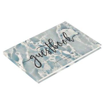 Ocean Themed Beach Sea Glass Ocean Blues Aqua Wedding Monogram Guest Book