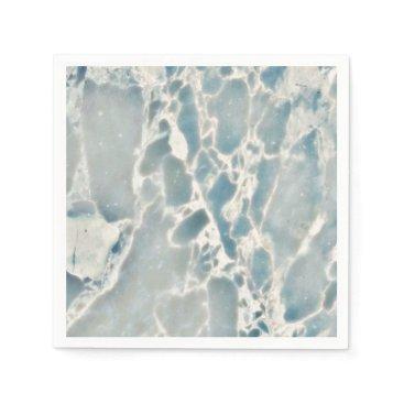 Ocean Themed Beach Sea Glass Ocean Blues Teal & Aqua Marble Paper Napkin