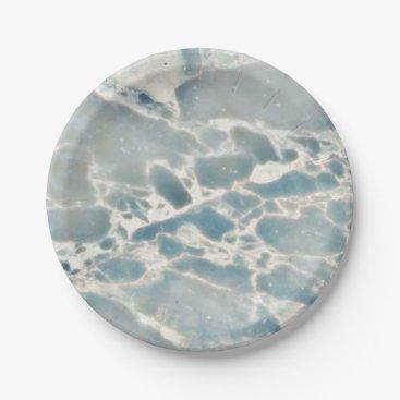 Ocean Themed Beach Sea Glass Ocean Blues Teal Aqua Marble Paper Plate