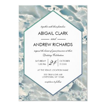 Ocean Themed Beach Sea Glass Ocean Blues Wedding Invitation