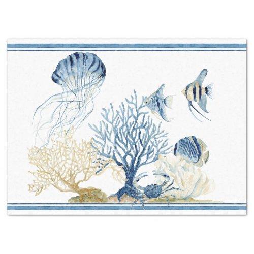 Beach Sea Life Coral Crab Jelly Fish Blue n White Tissue Paper