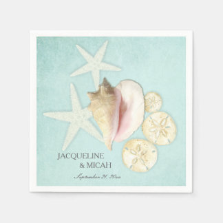 Beach Sea Ocean Shore Coastal Shells Wedding Party Paper Napkin