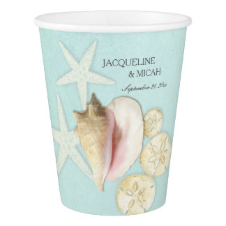 Beach Sea Ocean Shore Starfish Shell Bridal Shower Paper Cup