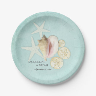 Beach Sea Ocean Shore Starfish Shell Wedding Party Paper Plate
