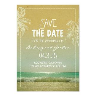 Beach sea & palm trees save the date cards custom invite