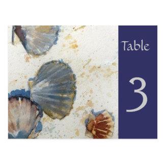 Beach Sea Shells Table Number Card
