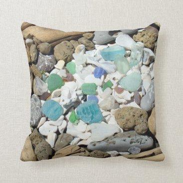 Beach Themed Beach Sea Shells Throw Pillows Sea Glass Fossils