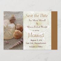 Beach Sea Shells Wedding Save the Date Card