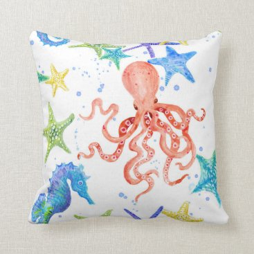 Beach Themed Beach Sea Shore Red Octopus Seahorse Starfish Art Throw Pillow