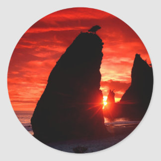 Beach Sea Stacks Knife Blood Red Sky Classic Round Sticker