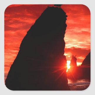 Beach Sea Stacks Knife Blood Red Sky Square Sticker