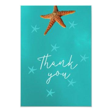 Beach Themed Beach sea starfish wedding thank you script aqua card