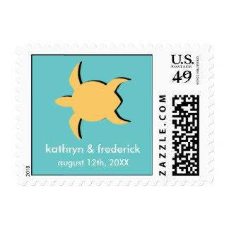 Beach sea turtle modern wedding save the date postage