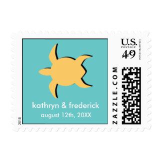Beach sea turtle modern wedding save the date postage