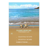 Beach sea wedding RSVP cards