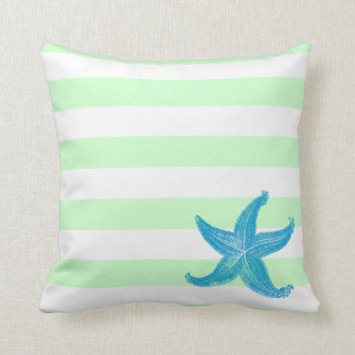 Beach Seafoam Green and White Striped Starfish Throw Pillows