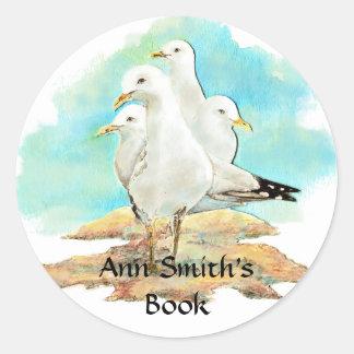 Beach & Seagull Book Plate to Customize Classic Round Sticker