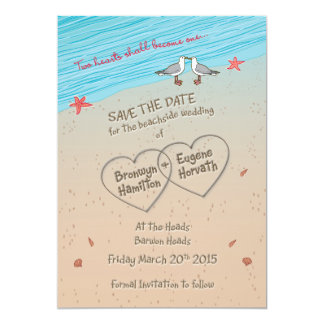 Beach seagull Save the Date ESPECIALLY for BRONWYN 5x7 Paper Invitation Card