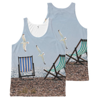 Beach Seagulls and Deckchairs All-Over Print Tank Top