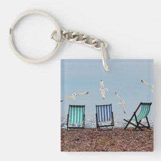 Beach Seagulls and Deckchairs Keychain