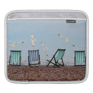 Beach Seagulls and Deckchairs Sleeve For iPads