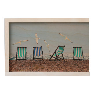 Beach Seagulls and Deckchairs Wooden Keepsake Box