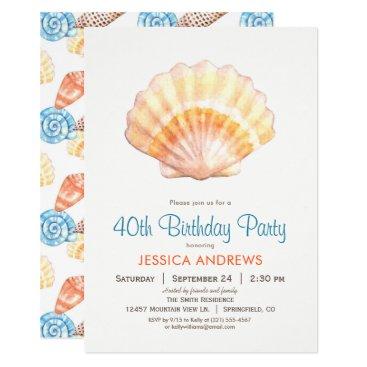 Beach Themed Beach Seashell Birthday Party Invitation