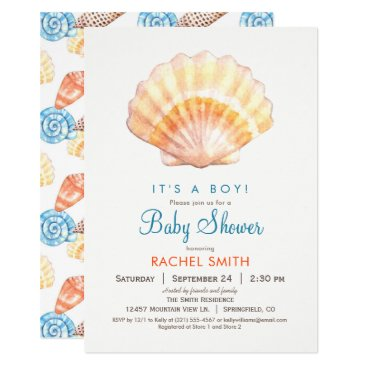Beach Themed Beach Seashell Boy Baby Shower Invitation