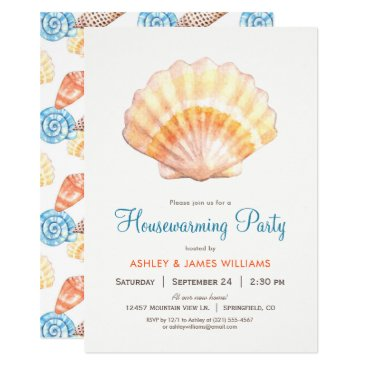 Card_Stop Beach Seashell Housewarming Party Invitation