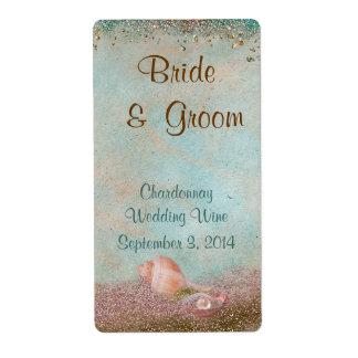 Beach Seashells and Glitter Wedding Wine Personalized Shipping Labels