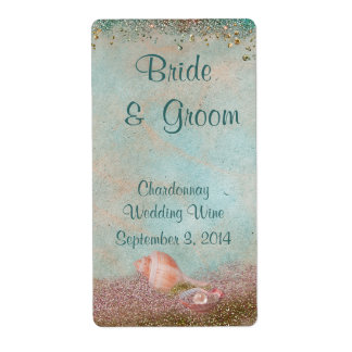 Beach Seashells and Glitter Wedding Wine Labels