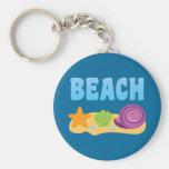 Beach Seashells Basic Round Button Keychain