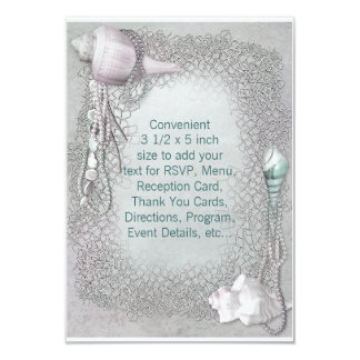 Beach Seashells Beach Wedding RSVP 3.5x5 Paper Invitation Card