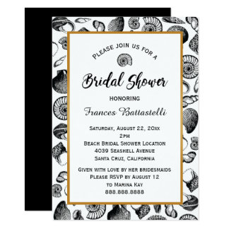 Beach Seashells Bridal Shower Invitation